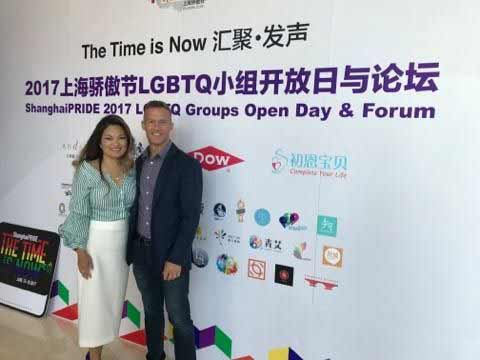 Rich Vaughn, IFLG, with Sandy Chuan at Shanghai Pride event