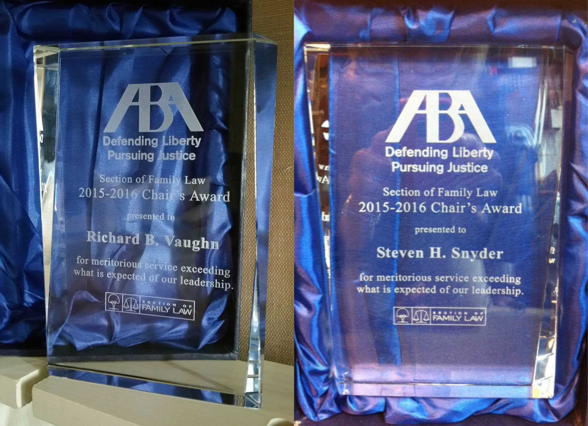 Rich Vaughn, Steven Snyder Received ABA Family Law Section Chair's Cup Award for work as Chair, former Chair of the ART Committee